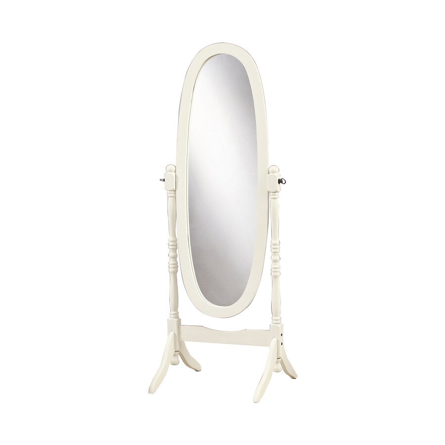 Shop Monarch Specialties Antique White Framed Oval Floor Mirror at ...