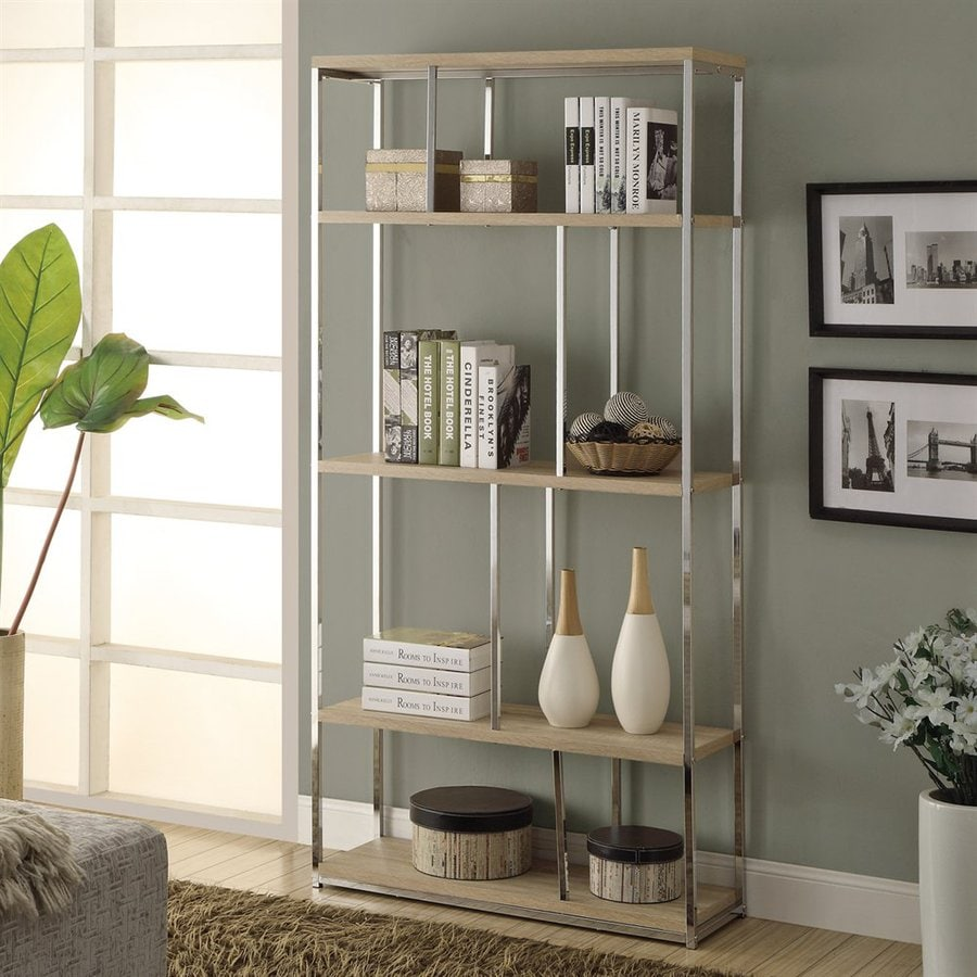 Monarch Specialties Natural 35.75-in W x 72-in H x 11.75-in D 4-Shelf Bookcase