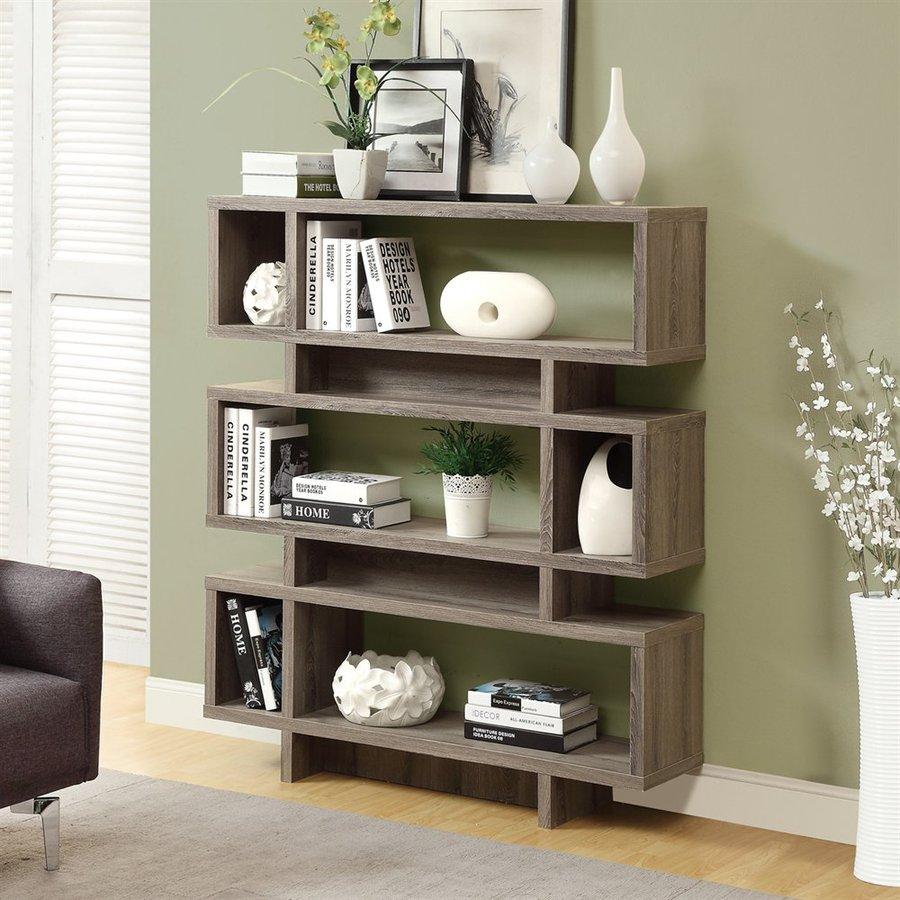 Monarch Specialties Dark Taupe 3-Shelf Bookcase