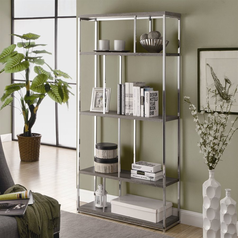 Monarch Specialties Dark Taupe 35.75-in W x 72-in H x 11.75-in D 4-Shelf Bookcase
