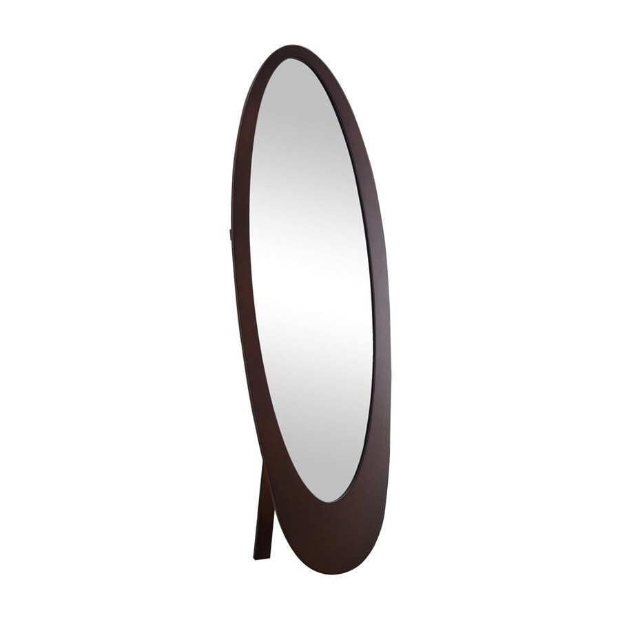Monarch Specialties 19-in x 59-in Cappuccino Oval Framed Floor Mirror