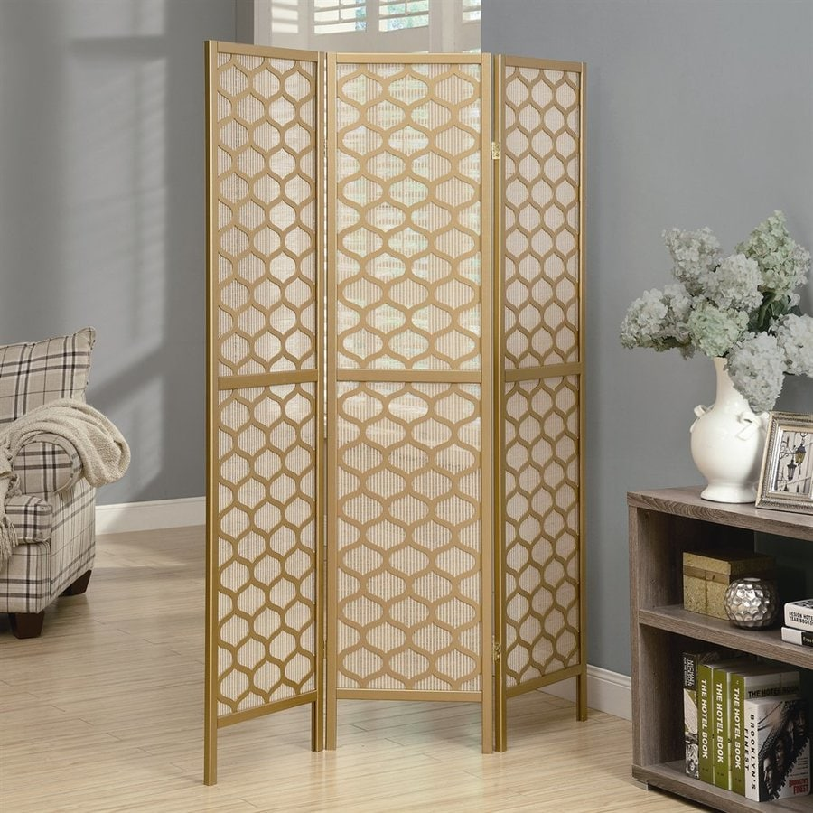 High Quality Monarch Specialties 3 Panel Gold Paper Folding Indoor Privacy Screen