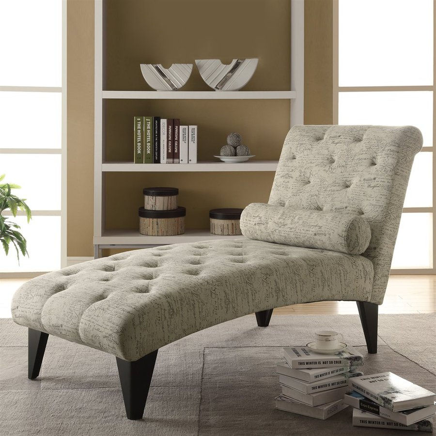 Monarch Specialties Tan Cotton Chaise Lounge