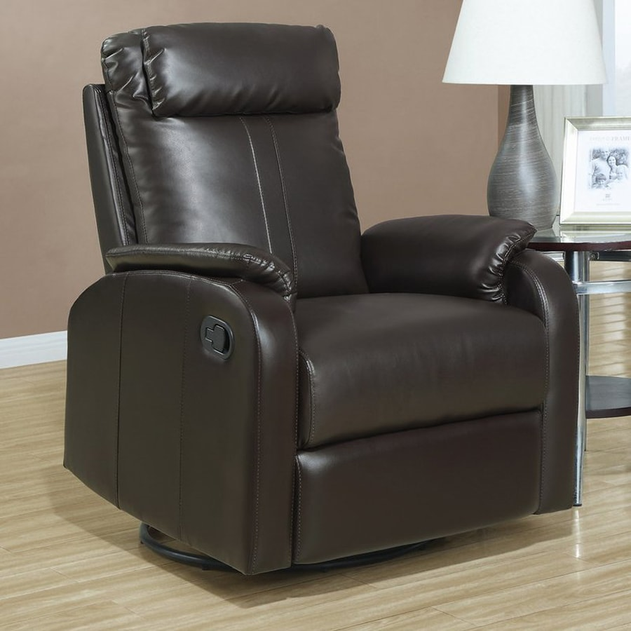 Monarch Specialties Dark Brown Bonded Leather Swiveling Recliner