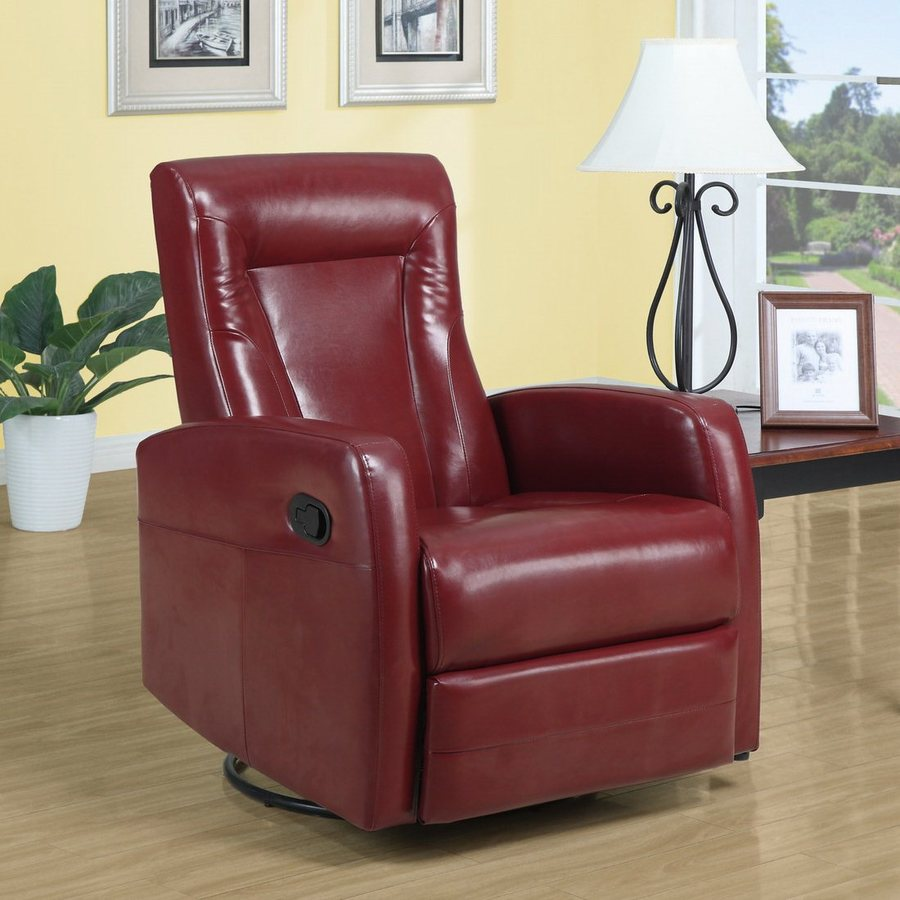 Monarch Specialties Red Bonded Leather Swiveling Recliner