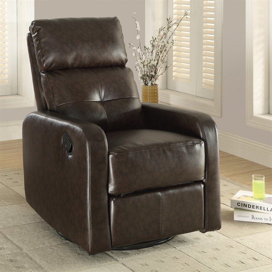 Monarch Specialties Dark Brown Bonded Leather Gliding Recliner