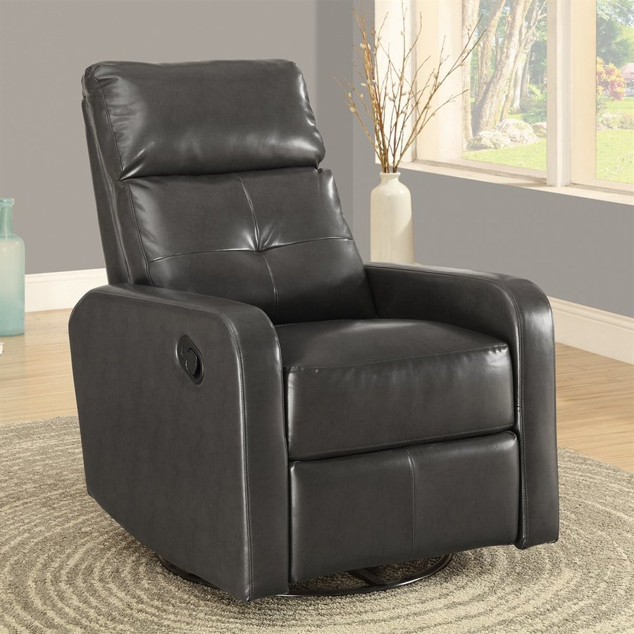 Monarch Specialties Charcoal Grey Bonded Leather Swiveling Recliner