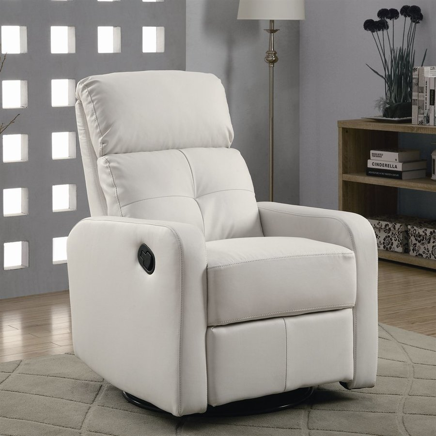 Monarch Specialties White Bonded Leather Gliding Recliner