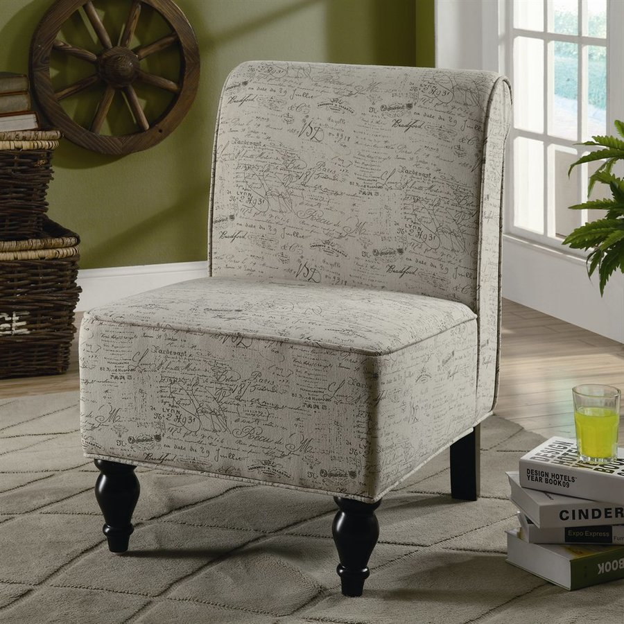 Monarch Specialties Cream Cotton Accent Chair