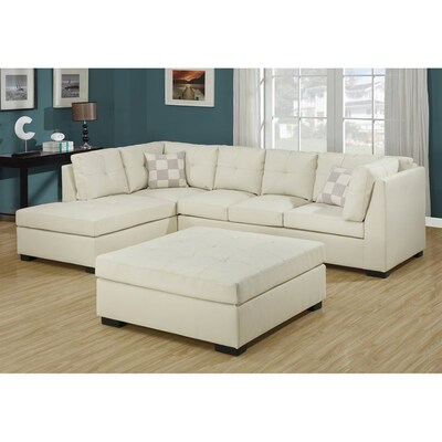 best service 8fdea df632 Monarch Specialties Ivory 2-Piece Sectional Sofa at Lowes.com