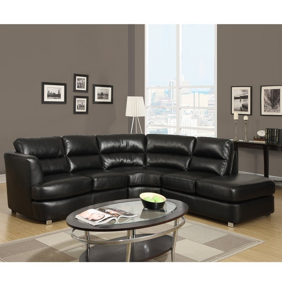 Monarch Specialties Black Faux Leather Sectional