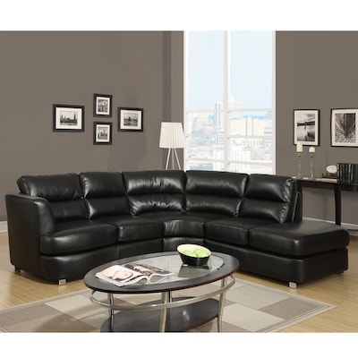 Super Monarch Specialties Modern Black Faux Leather Sectional At Uwap Interior Chair Design Uwaporg