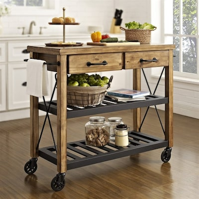 Brown Rustic Kitchen Cart