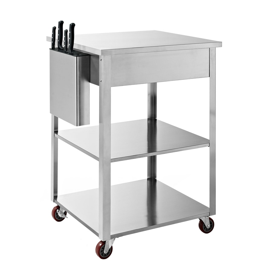 Crosley Furniture Kitchen Cart Shop Crosley Furniture Stainless Steel Rectangular Kitchen Cart At