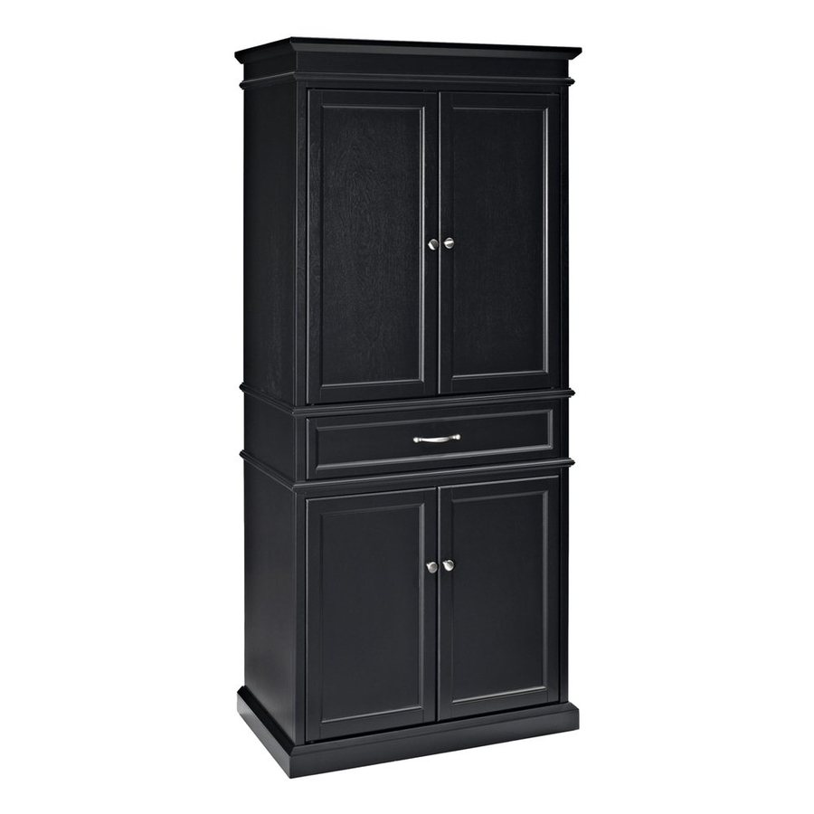 Shop crosley furniture black poplar pantry at lowescom for Kitchen cabinets lowes with decorative metal disc wall art