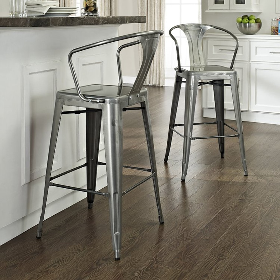 Shop Crosley Furniture Amelia Set Of 2 Modern Galvanized Bar Stools At