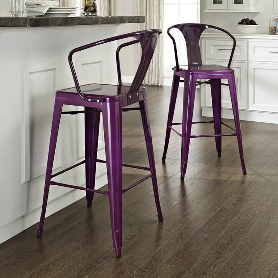 Crosley Furniture Set of 2 Amelia Purple 30-in Bar Stools