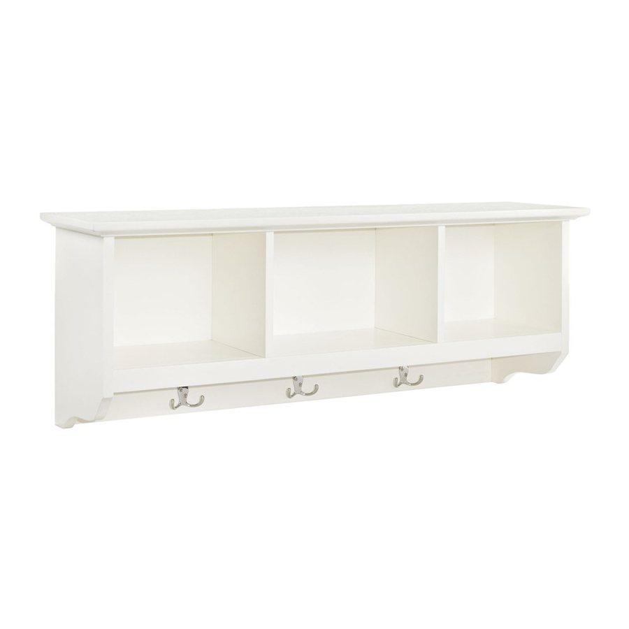 Shop crosley furniture brennan white 3 hook wall mounted for White wall hook rack