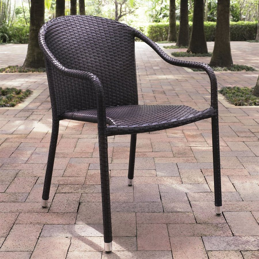 Crosley Furniture Palm Harbor 4-Count Brown Wicker Stackable Patio Dining Chairs