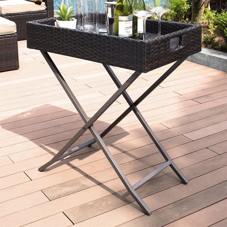 Crosley Furniture Palm Harbor 28-in W x 32-in L Rectangle Wicker Folding End Table