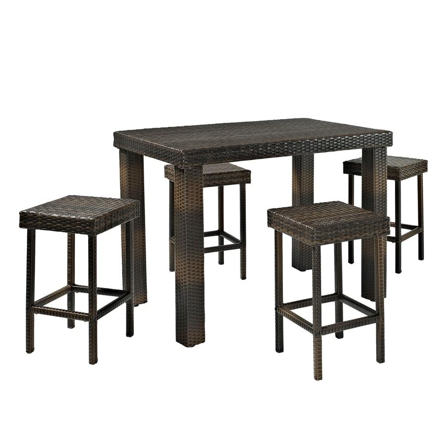 Crosley Furniture Palm Harbor 5-Piece Dark Brown Wicker Patio Dining Set