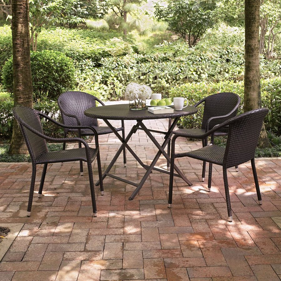 Shop Crosley Furniture Palm Harbor 5 Piece Dark Brown Wicker Patio Dining Set At