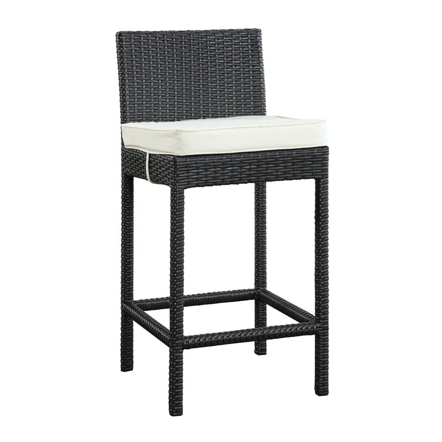 Modway Lift Espresso Rattan Plastic Patio Barstool Chair