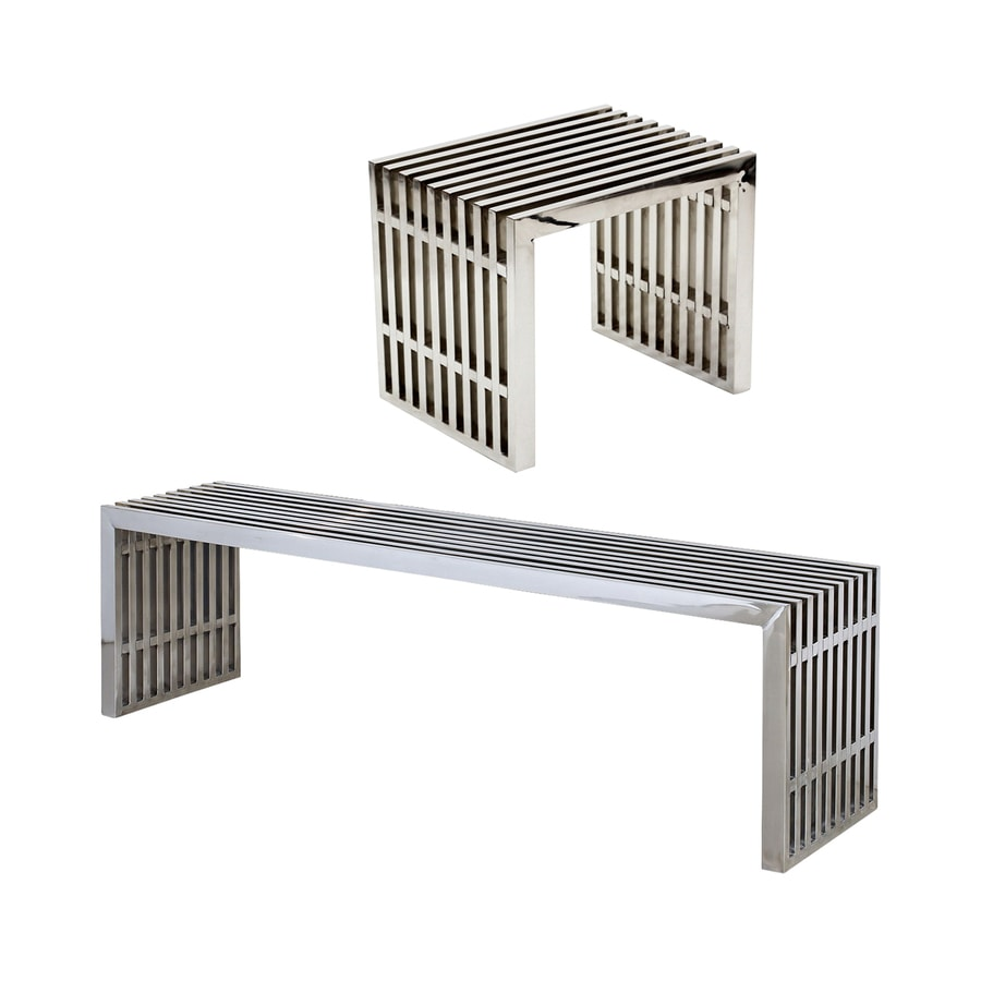 Modway Set of 2 Gridiron Stainless Steel Dining Bench