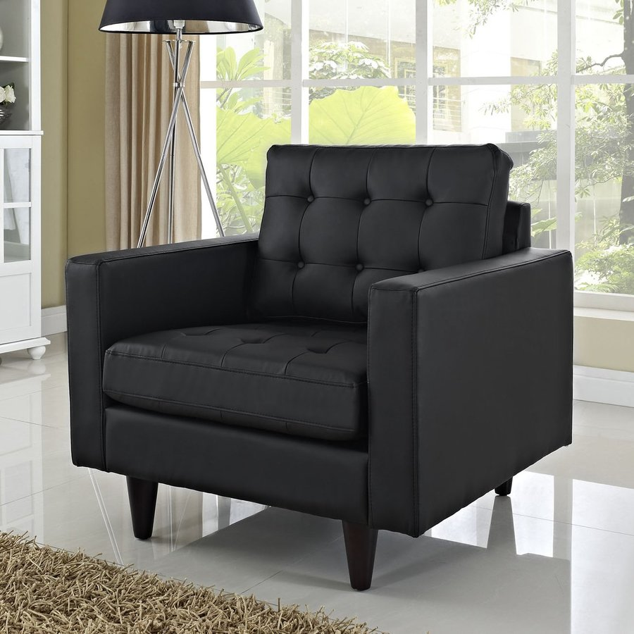Modway Empress Modern Black Faux Leather Accent Chair