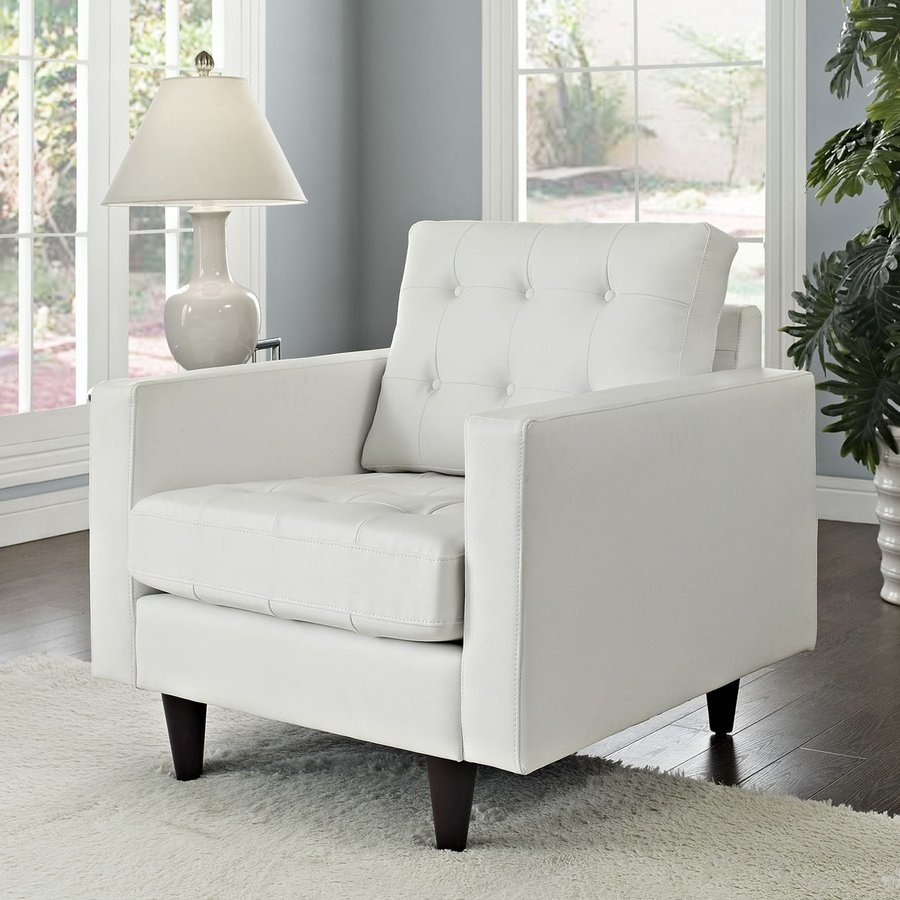 Modway Empress White Bonded Leather Accent Chair