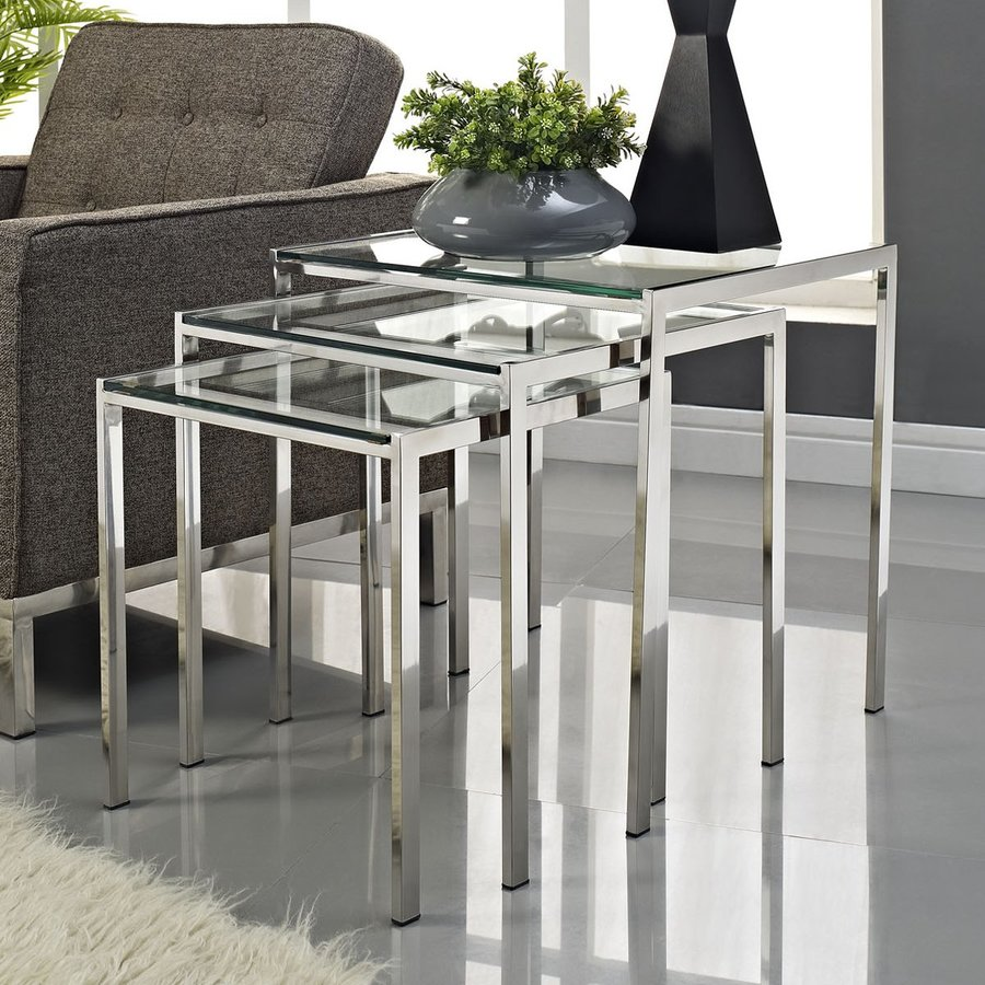 Modway Nimble 3-Piece Silver Accent Table Set