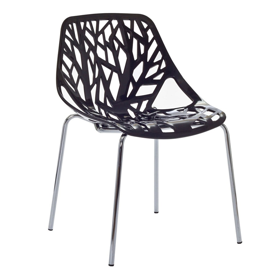 Modway Stencil Black Stackable Side Chair