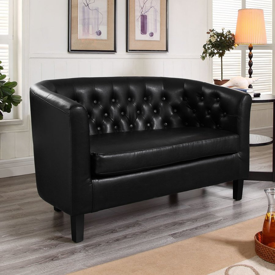 Modway Prospect Black Faux Leather Loveseat