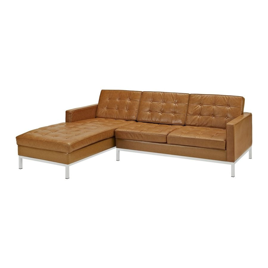 Modway Loft 2-Piece Tan Leather Sectional Sofa  sc 1 st  Loweu0027s : tan leather sectional - Sectionals, Sofas & Couches