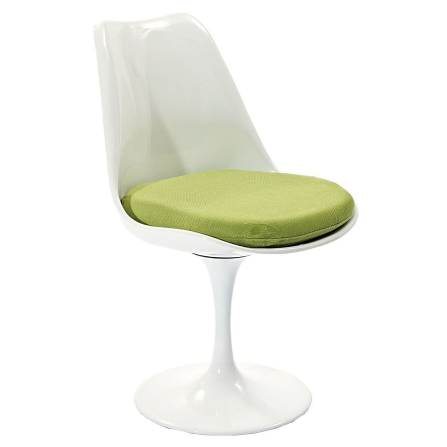 Modway Lippa Gloss White Side Chair with Blue Cushion