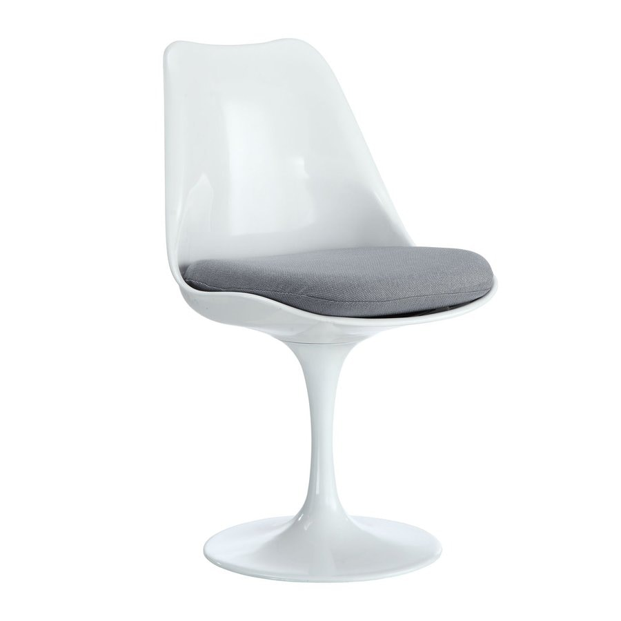 Modway 1 Lippa Gloss White with Gray Cushion Side Chair