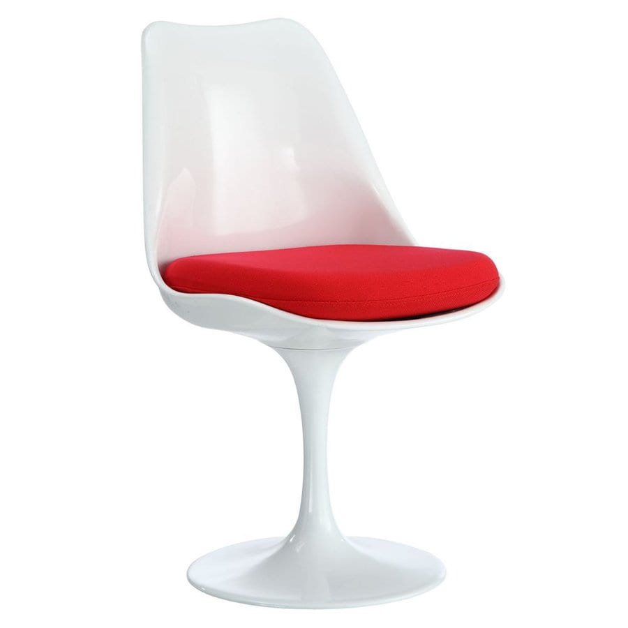 Modway Lippa Gloss White Side Chair with Red Cushion