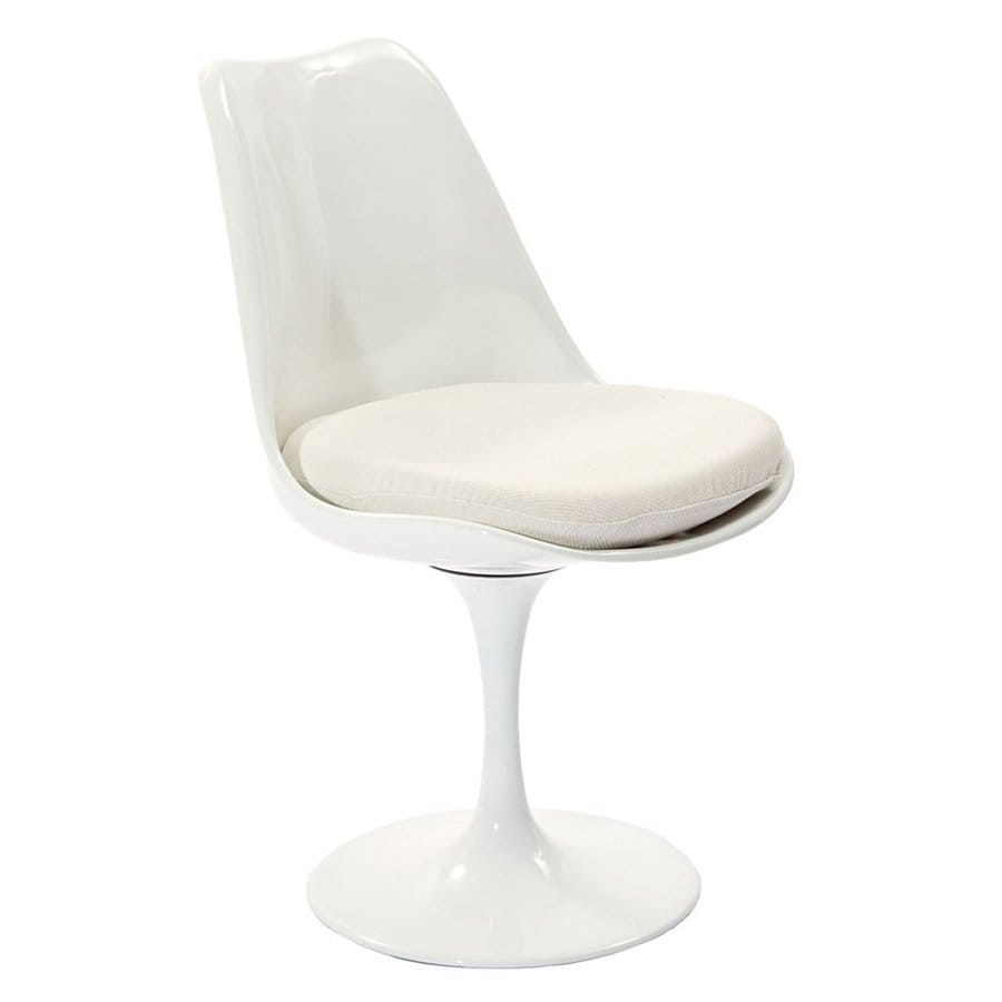 Modway Lippa Gloss White Side Chair with White Cushion