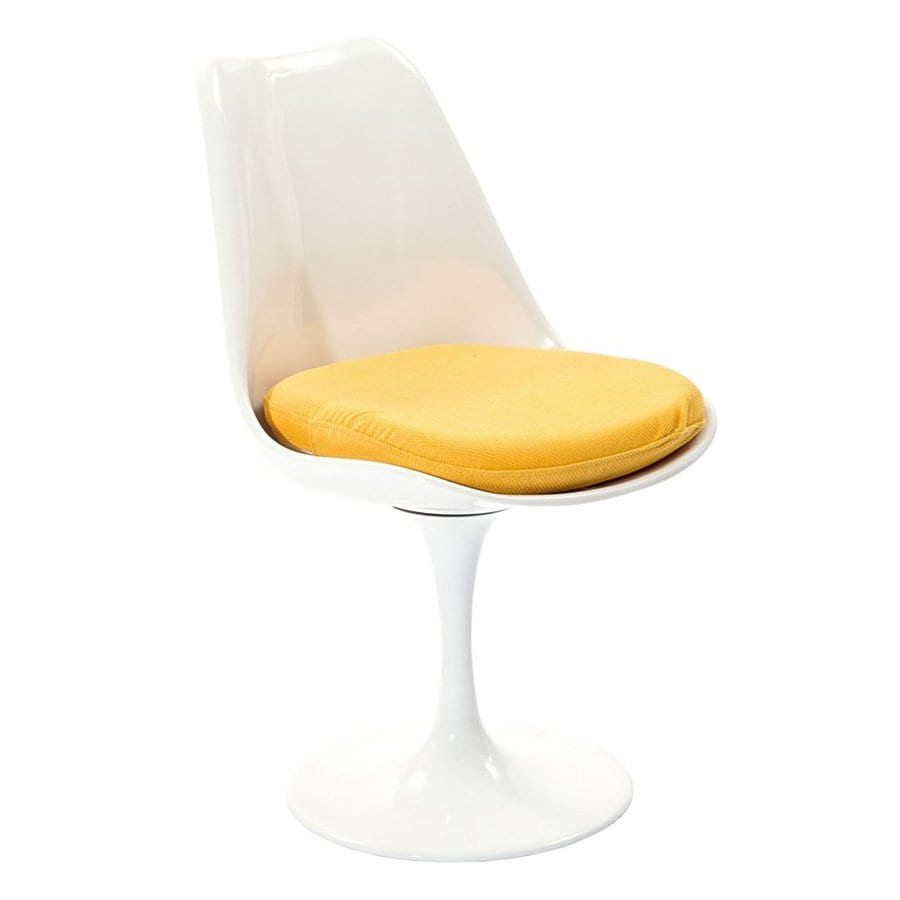 Modway Lippa Gloss White Side Chair with Yellow Cushion