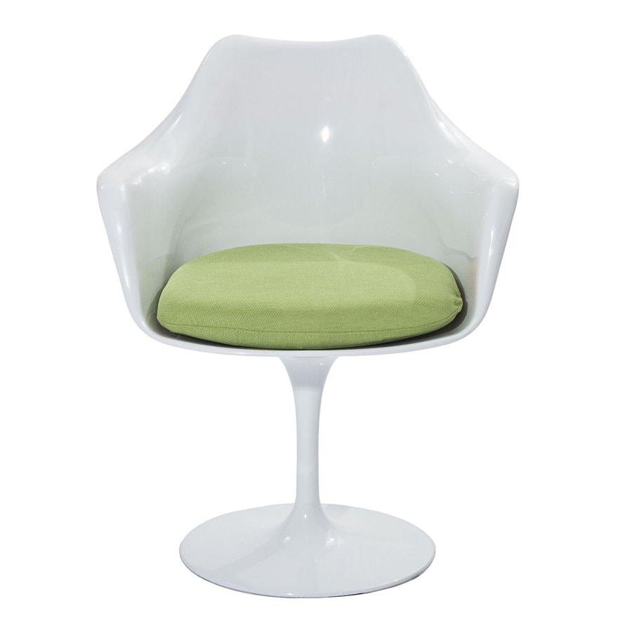 Modway 1 Lippa Gloss White with Green Cushion Arm Chair