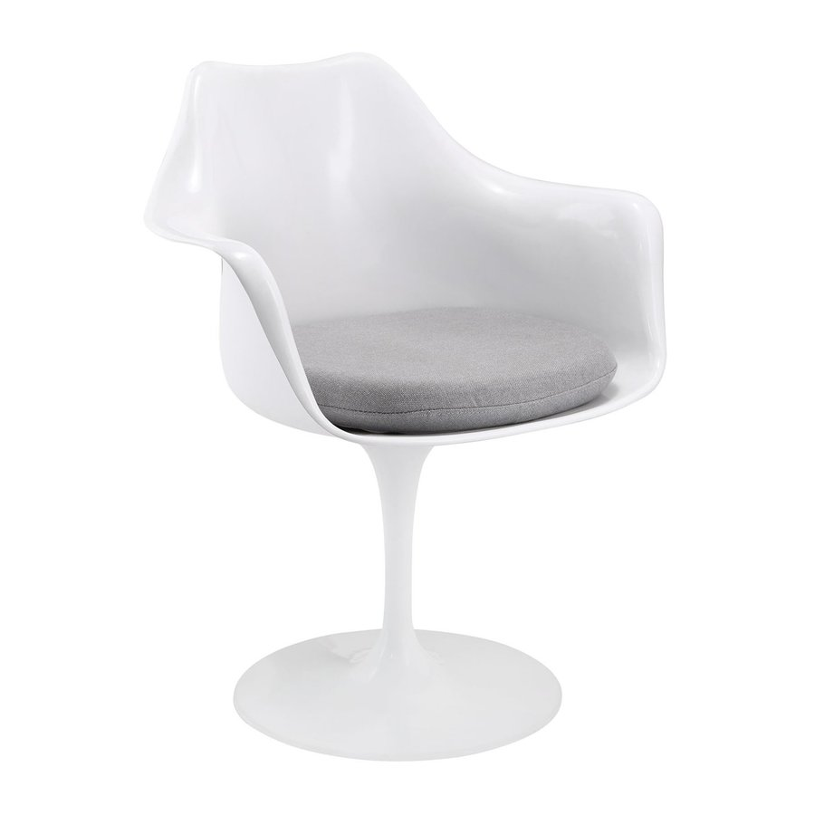 Modway 1 Lippa Gloss White with Gray Cushion Arm Chair
