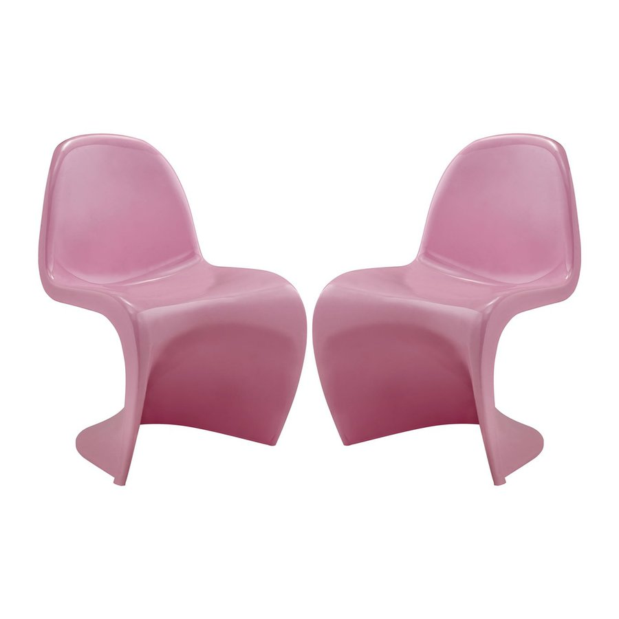 Modway Set of 2 Slither Pink Stackable Side Chairs