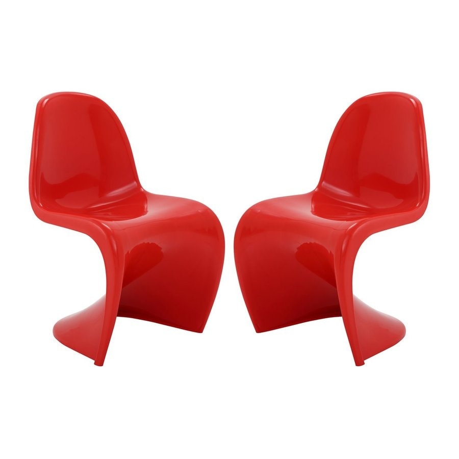 Modway Set of 2 Slither Red Stackable Side Chairs