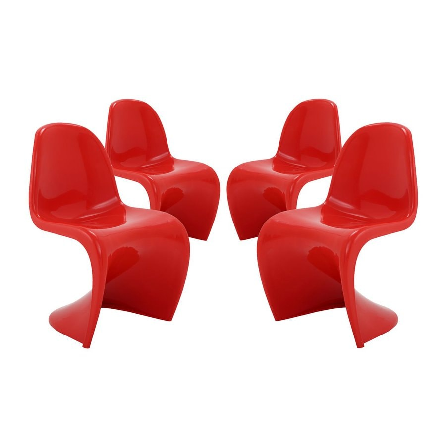Modway Set of 4 Slither Red Stackable Side Chairs