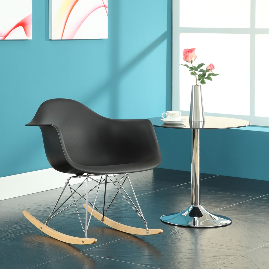 Modway Modern Black Rocking Chair