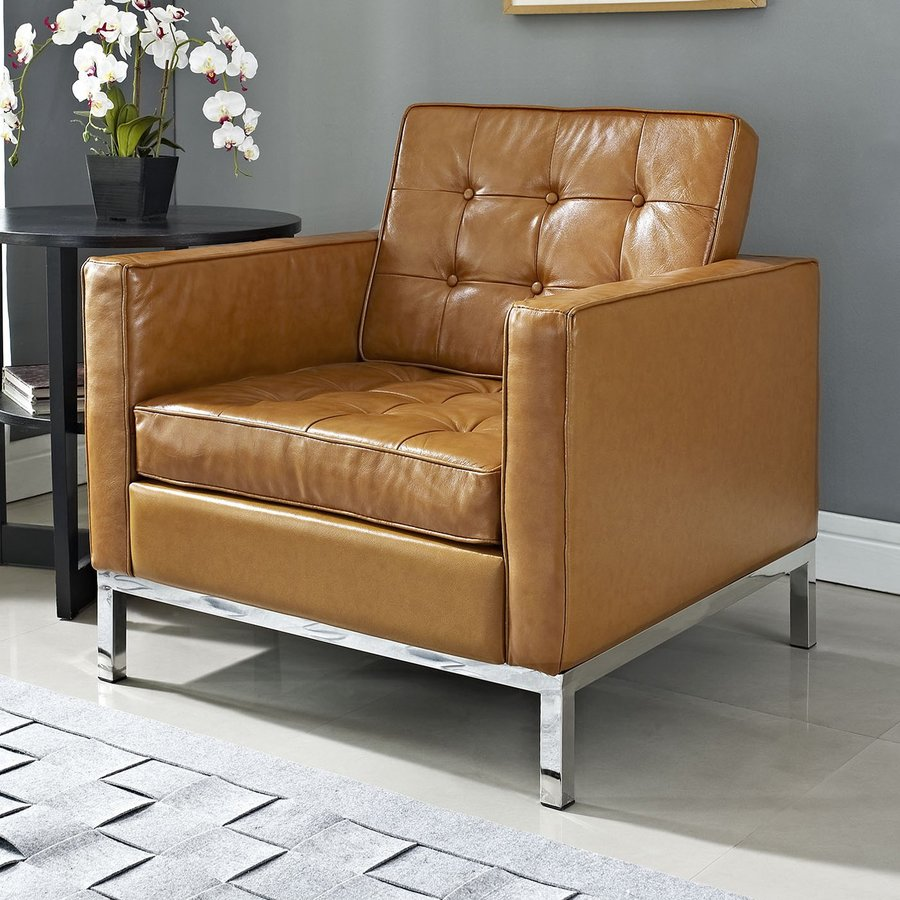 Modway Loft Tan Bonded Leather Accent Chair