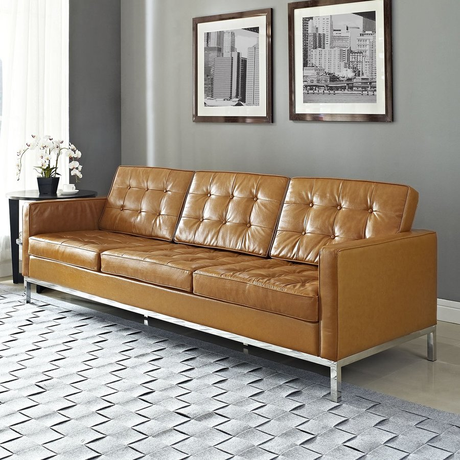 Modway Loft Tan Leather Sofa