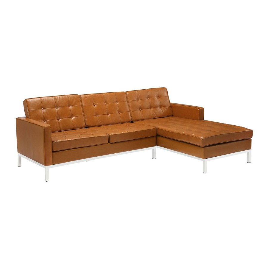 Shop modway loft 2 piece tan leather sectional sofa at for Whitten 2 piece sectional sofa