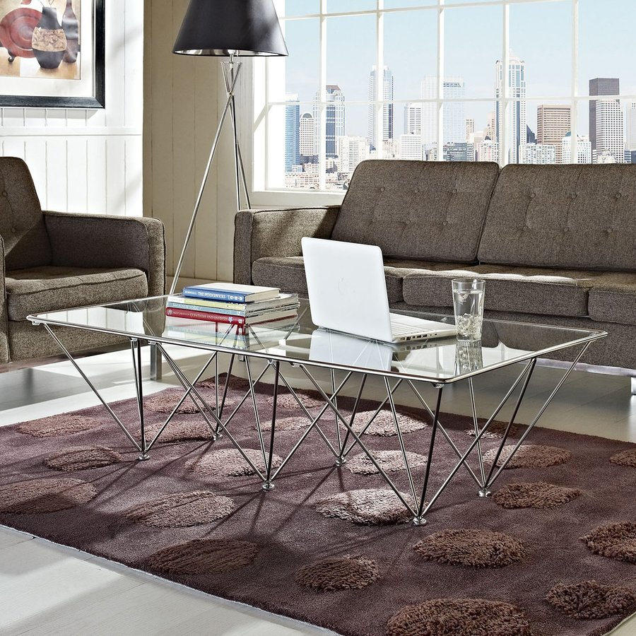 Modway Prism Silver Rectangular Coffee Table