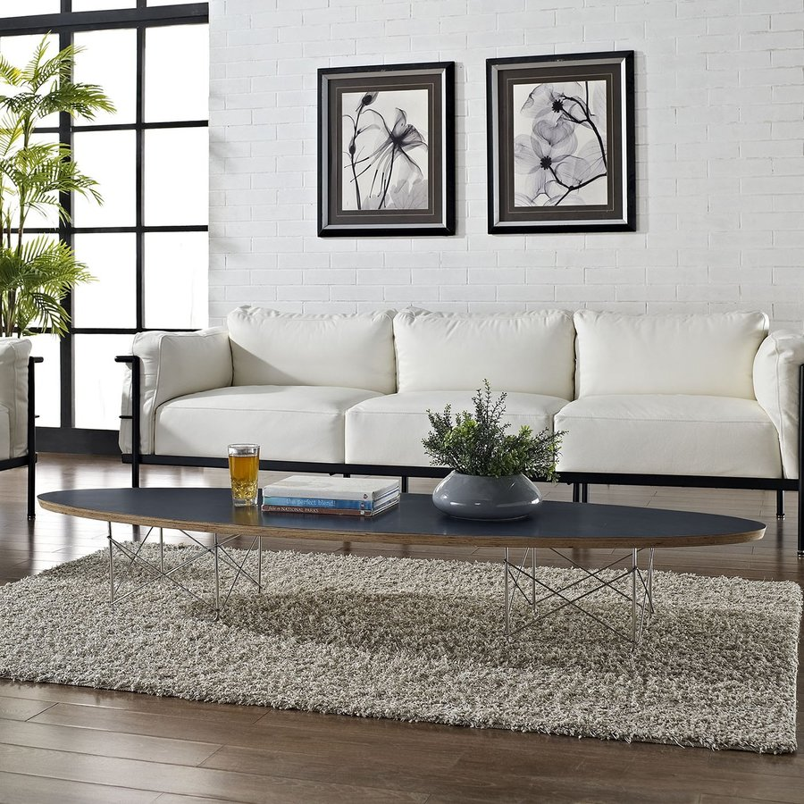 Modway Surfboard Black Oval Coffee Table
